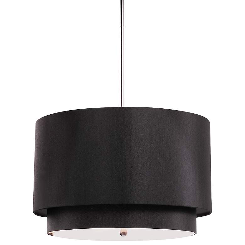 "Rondin 18"" Wide Brushed Nickel Black 3-Light Pendant"
