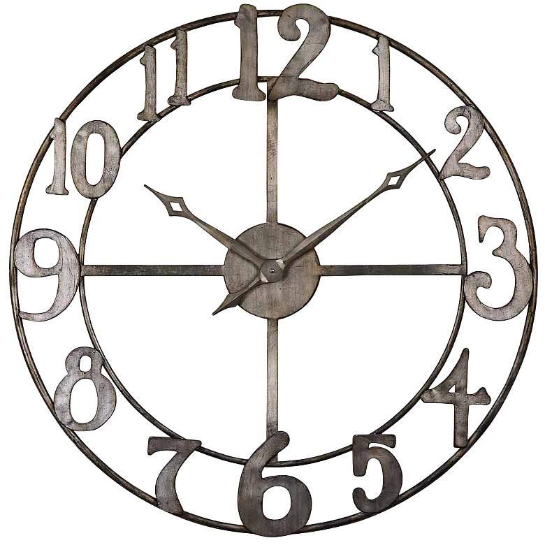 "Uttermost Delevan Silver 32 1/4"" Round Wall Clock"