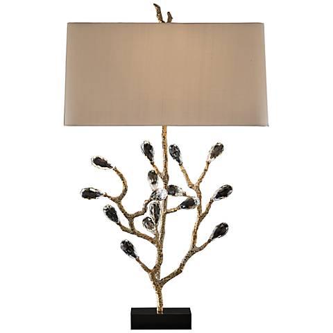John Richard Antique Gold Budding Crystal Table Lamp