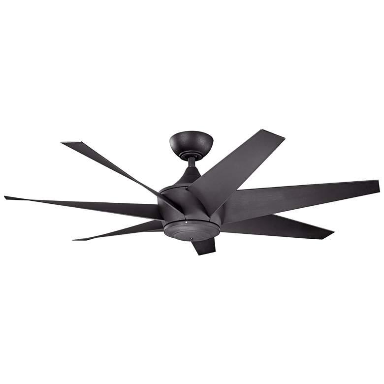 "54"" Kichler Lehr II Climates Black Outdoor Ceiling Fan"