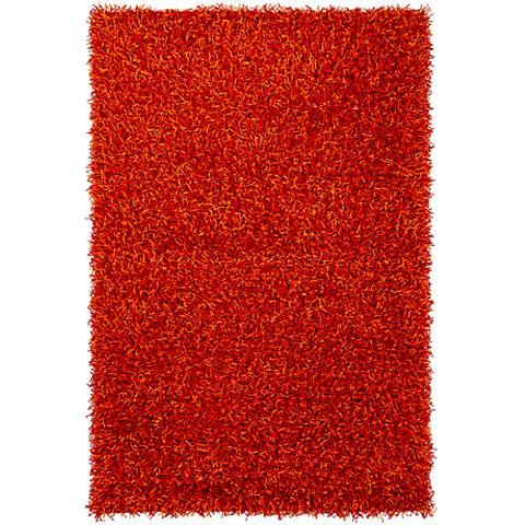 Chandra Zara ZAR14510 Red and Orange Shag Rug