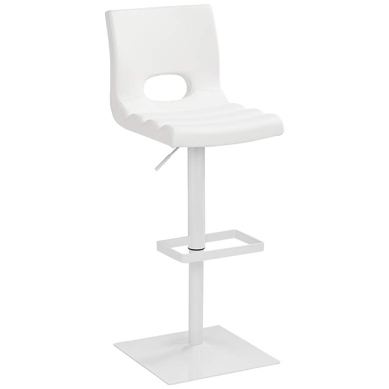 Donovan White Faux Leather Adjustable Barstool