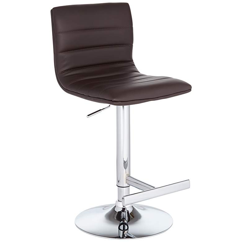 Motivo Brown Faux Leather Adjustable Swivel Bar Stool