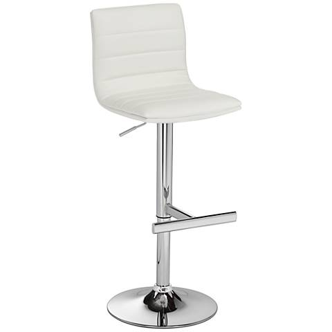 Motivo White Faux Leather Swivel Seat Adjustable Barstool