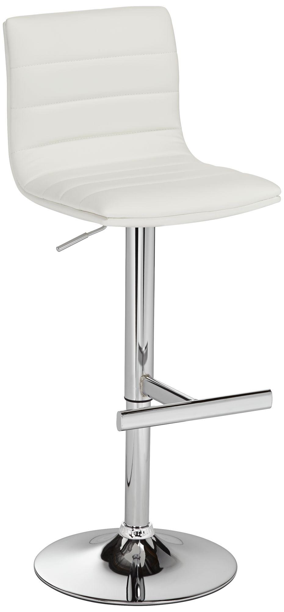 Motivo White Faux Leather Swivel Seat Adjustable Barstool