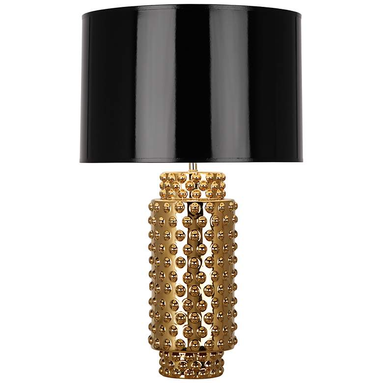 Robert Abbey Large Dolly Black Shade Gold Glaze Table Lamp