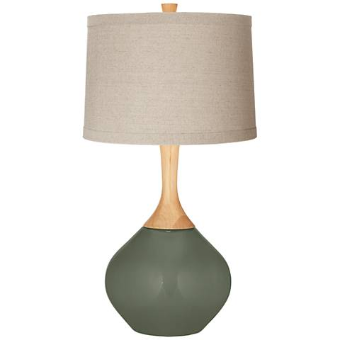 Deep Lichen Green Natural Linen Drum Shade Wexler Table Lamp