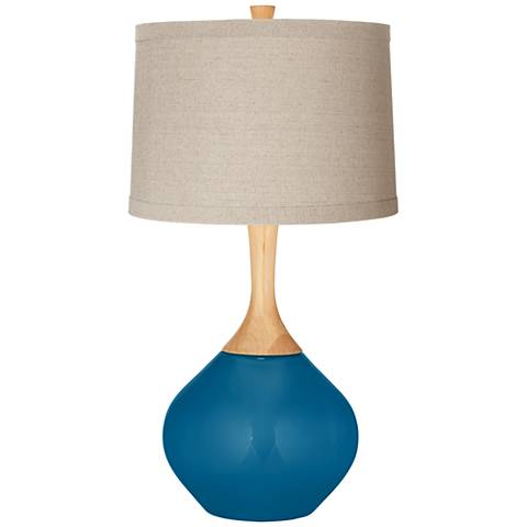 Mykonos Blue Natural Linen Drum Shade Wexler Table Lamp