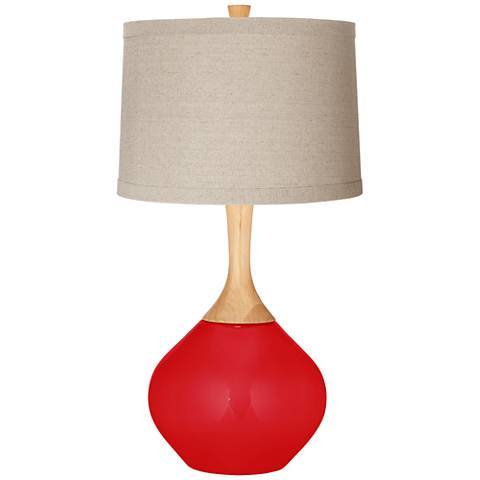 Bright Red Natural Linen Drum Shade Wexler Table Lamp