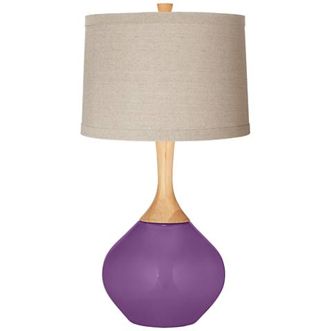 Passionate Purple Natural Linen Drum Shade Wexler Table Lamp