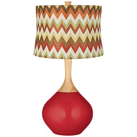 Sangria Metallic Red and Brown Chevron Shade Wexler Lamp