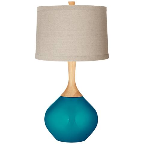 Turquoise Metallic Natural Linen Drum Shade Wexler Table Lamp