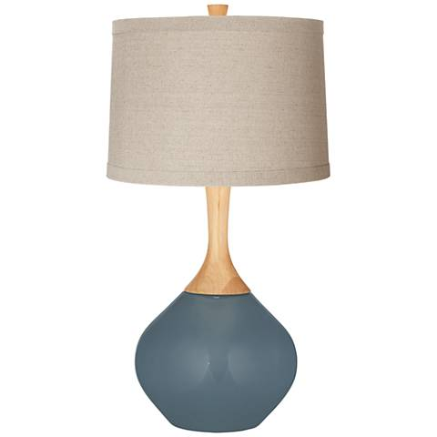 Smoky Blue Natural Linen Drum Shade Wexler Table Lamp