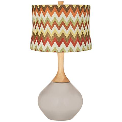 Pediment Red and Brown Chevron Shade Wexler Table Lamp