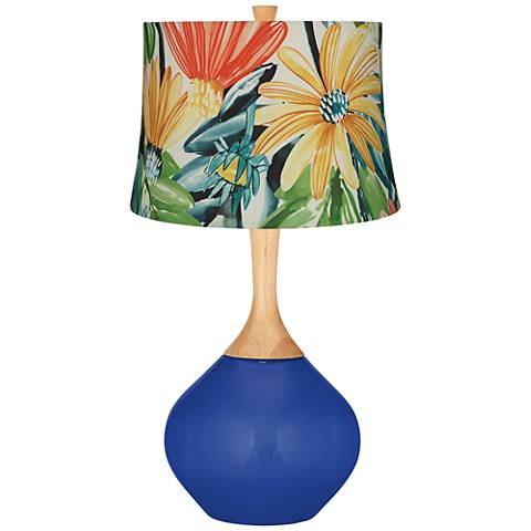 Dazzling Blue Multi-Color Daisies Wexler Table Lamp