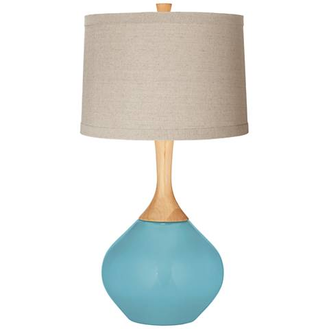 Nautilus Natural Linen Drum Shade Wexler Table Lamp