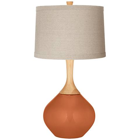 Robust Orange Natural Linen Drum Shade Wexler Table Lamp