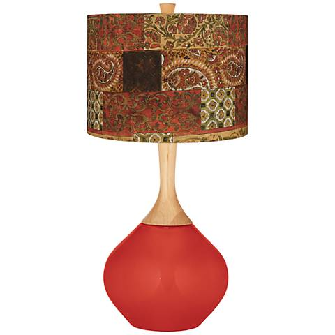 Cherry Tomato Paisley Patchwork Wexler Table Lamp