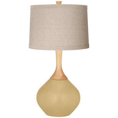 Humble Gold Natural Linen Drum Shade Wexler Table Lamp