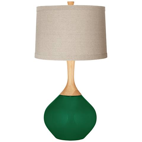Greens Natural Linen Drum Shade Wexler Table Lamp