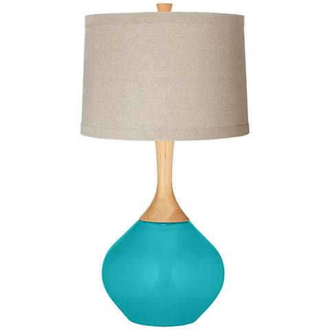 Surfer Blue Natural Linen Drum Shade Wexler Table Lamp