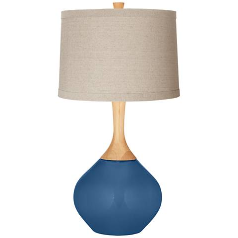 Regatta Blue Natural Linen Drum Shade Wexler Table Lamp