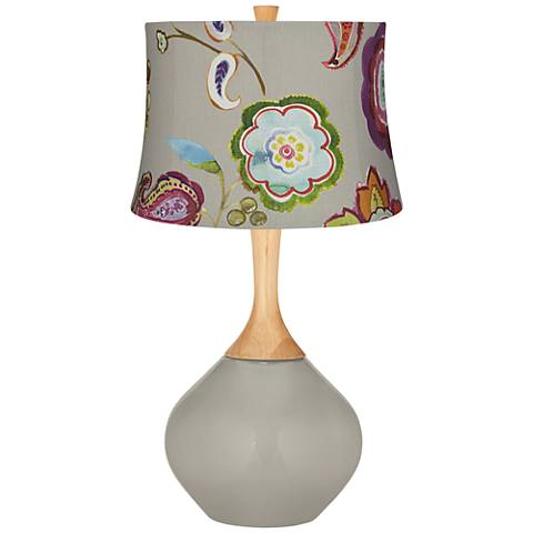 Requisite Gray Beige with Flowers Wexler Table Lamp