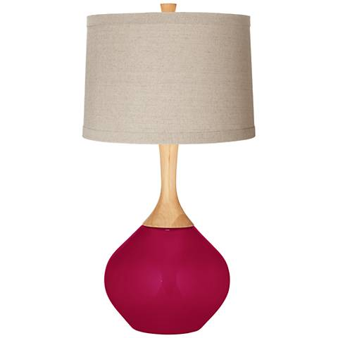 French Burgundy Natural Linen Drum Shade Wexler Table Lamp