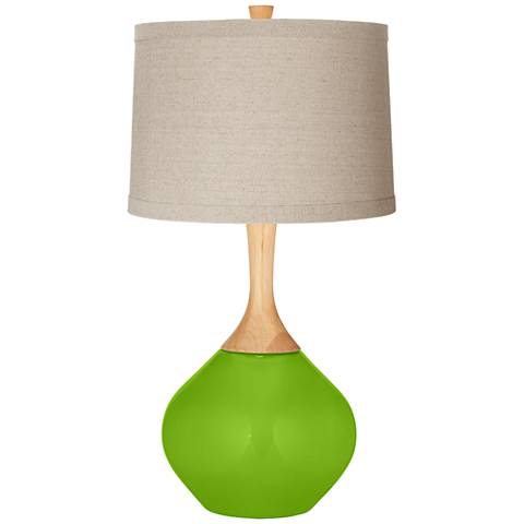 Neon Green Natural Linen Drum Shade Wexler Table Lamp