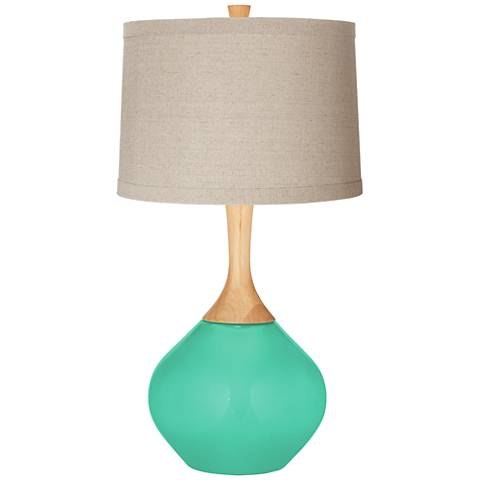Turquoise Natural Linen Drum Shade Wexler Table Lamp