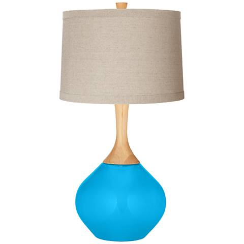 Sky Blue Natural Linen Drum Shade Wexler Table Lamp