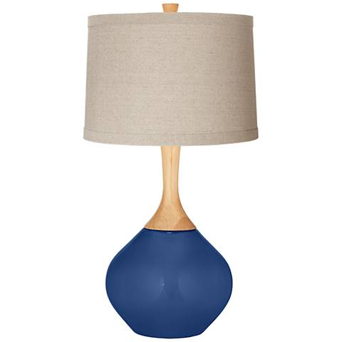 Monaco Blue Natural Linen Drum Shade Wexler Table Lamp