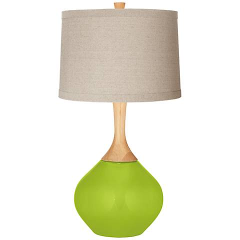 Tender Shoots Natural Linen Drum Shade Wexler Table Lamp