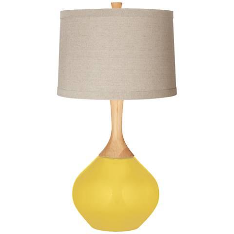 Lemon Zest Natural Linen Drum Shade Wexler Table Lamp