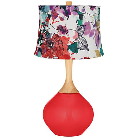 Poppy Red Multi-Color Flowers Wexler Table Lamp