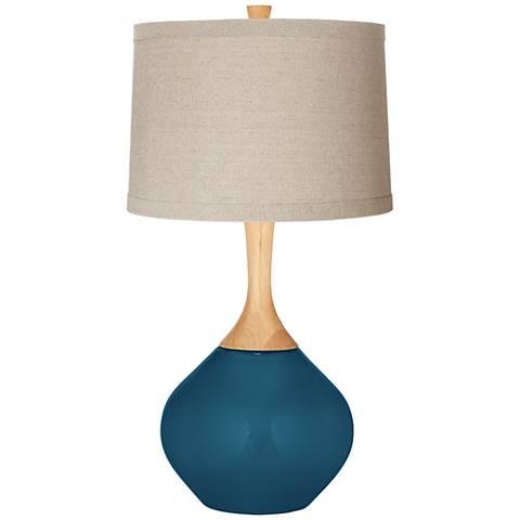Oceanside Natural Linen Drum Shade Wexler Table Lamp