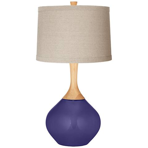 Valiant Violet Natural Linen Drum Shade Wexler Table Lamp