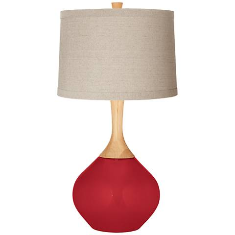 Ribbon Red Natural Linen Drum Shade Wexler Table Lamp