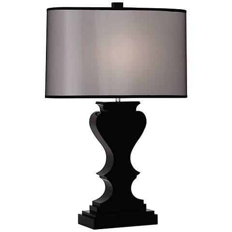 Dunmore black shade black crystal table lamp