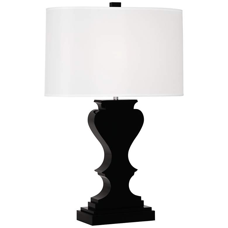 Dunmore White Shade Black Crystal Table Lamp