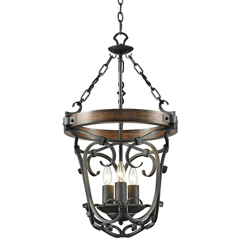 "Madera 16 1/2"" Wide Black Iron Hand-Forged Pendant"