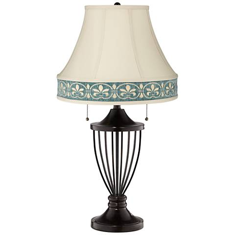 French Beige Bell Shade Bronze Urn Table Lamp