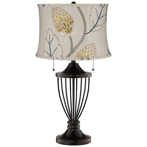 Beige with Gold Thistle Shade Bronze Urn Table Lamp
