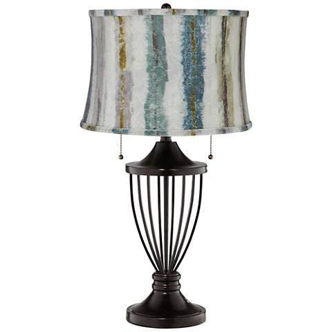 Blue Multi Crackle Stripes Shade Bronze Urn Table Lamp