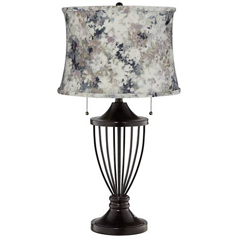 Gray Paint with Stitching Shade Bronze Urn Table Lamp
