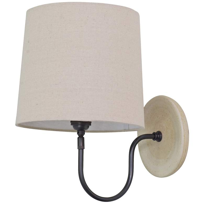 House of Troy Scatchard Stoneware Bronze Plug-In Wall Lamp
