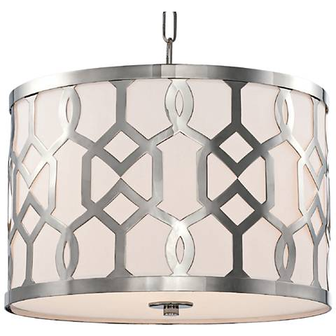 "Crystorama Jennings 18 1/4""W Polished Nickel Pendant Light"