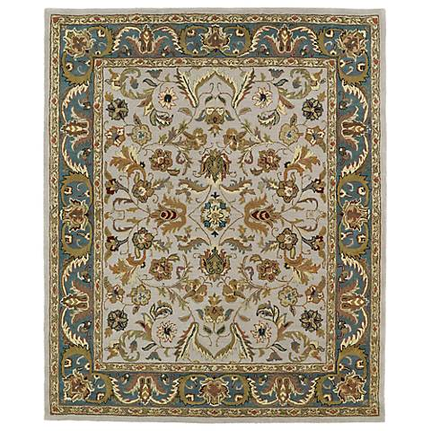 Kaleen Taj TAJ04-27 Taupe and Blue Wool Area Rug