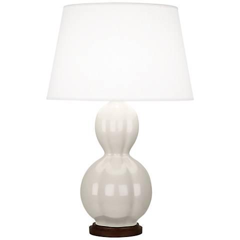 Randolph White Ceramic Table Lamp with Walnut Wood
