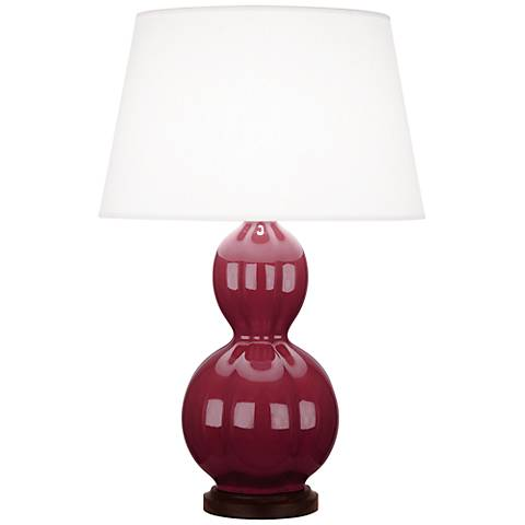 Randolph Plum Ceramic Table Lamp with Walnut Wood